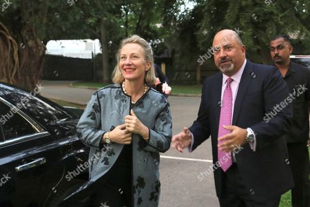 Ambassador to Sri Lanka Atul Keshap (R) talks with US Assistant Secretary of State for South and Central Asian Affairs and Acting Special Representative for Afghanistan and Pakistan Alice Wells in Colombo, Sri Lanka