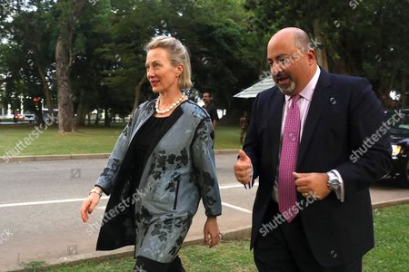 Ambassador to Sri Lanka Atul Keshap (R) talks with US Assistant Secretary of State for South and Central Asian Affairs and Acting Special Representative for Afghanistan and Pakistan Alice Wells in Colombo