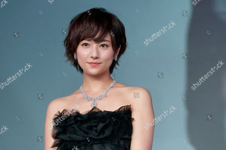 Japanese actress Fumino Kimura wears a diamond jewelry set valued at 200,000,000 JPY during the 'Women of the Year' Award Ceremony at the Japan Jewellery Fair 2017 in Tokyo Big Sight, Tokyo, Japan.