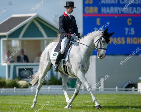 Harry Meade (GBR) riding Away Cruising in action during their Dressage Test on the first day of competition.  The Land Rover Burghley Horse Trials. Burghley House, Stamford, Lincolnshire, Britain. 30th Aug 2018.
