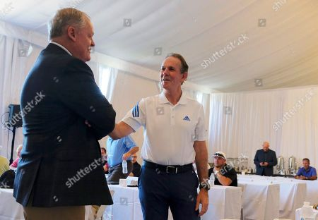 Johnny Miller, Thomas Keller Hall of Famer and broadcaster Johnny Miller, left, visits with French Laundry chef Thomas Keller, right, during media day for the Safeway Open golf tournament, in Napa, Calif