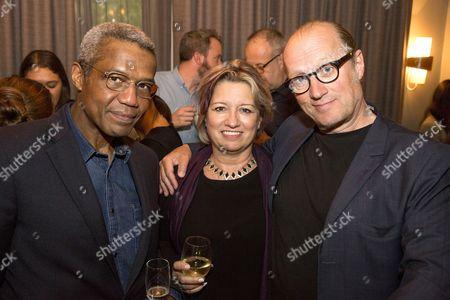 Hugh Quarshie, Michele Milburn and Adrian Edmondson