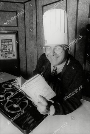 Rabbi Lionel Blue With His Cookery Book ' Kitchen Blues; Recipes For Body And Soul'. Box 719 330111630 A.jpg.