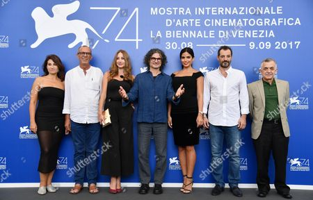 (L-R) Actors Christine Choueiri, Kamel El Basha, Diamand Abou Abboud, Lebanese director Ziad Doueiri, actors Rita Hayek, Adel Karam, and Camille Salameh pose during a photocall for 'The Insult' at the 74th annual Venice International Film Festival, in Venice, Italy, 31 August 2017. The movie is presented in the official competition 'Venezia 74' at the festival running from 30 August to 09 September.