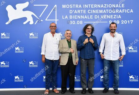 Lebanese director Ziad Doueiri (2-R) with actors Kamel El Basha (L), Camille Salameh (2-L) and Adel Karam (R) pose during a photocall for 'The Insult' at the 74th annual Venice International Film Festival, in Venice, Italy, 31 August 2017. The movie is presented in the official competition 'Venezia 74' at the festival running from 30 August to 09 September.