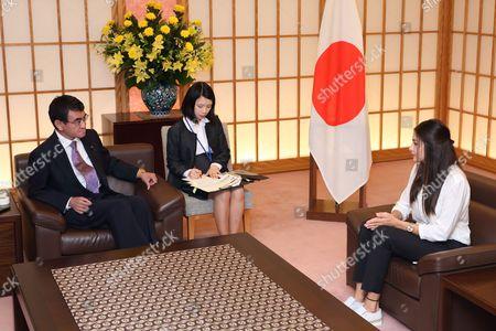 Foreign Minister of Japan Taro Kono, UHHCR Goodwill Ambassador Yusra Mardini