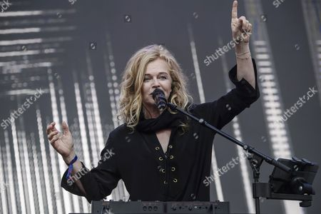 Stock Image of Singer Inga Humpe of the German band 2Raumwohnung performs on stage during the Internationale Funkausstellung Berlin (IFA), an international consumer electronics fair, in Berlin, Germany, 31 August 2017. The IFA is the world's leading trade show for consumer electronics and home appliances and open for the general public from 01 to 06 September. The fair presents over 1800 exhibitors from more than 50 countries and expects over 200,000 visitors this year.