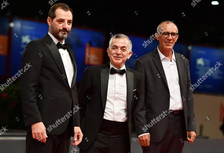 Adel Karam (L), Camille Salameh (C) and Kamel El Basha (R) arrive for the premiere of 'The Insult' at the 74th Venice Film Festival in Venice, Italy, 31 August 2017. The festival runs from 30 August to 09 September.