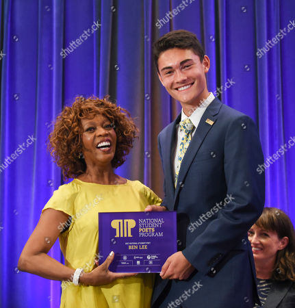 Alfre Woodard, Ben Lee Actor Alfre Woodard, left, congratulates 2017 National Student Poet Ben Lee, of Edina, Minn., on his inaugural reading at the Library of Congress, in Washington