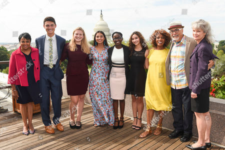 Carla Hayden, Ben Lee, Annie Castillo, Kinsale Hueston, Juliet Lubwama, Camila Sanmiguel, Alfre Woodard, Juan Felipe Herrera, Kathryn K. Matthew From left, Librarian of Congress Carla Hayden honors the newly-appointed 2017 Class of National Student Poets Ben Lee, Annie Castillo, Kinsale Hueston, Juliet Lubwama, and Camila Sanmiguel, with Actor Alfre Woodard, 21st U.S. Poet Laureate Juan Felipe Herrera and Director of Institute of Museum and Library Services Kathryn K. Matthew on the rooftop balcony at the Library of Congress, in Washington