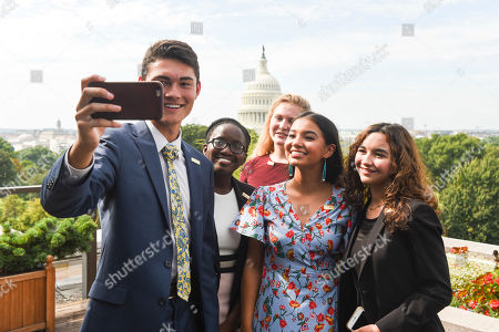 Ben Lee, Annie Castillo, Kinsale Hueston, Juliet Lubwama, Camila Sanmiguel The newly-appointed 2017 Class of National Student Poets, from left, Ben Lee, Juliet Lubwama, Annie Castillo, Kinsale Hueston, and Camila Sanmiguel celebrate with a selfie on the rooftop balcony at the Library of Congress, in Washington