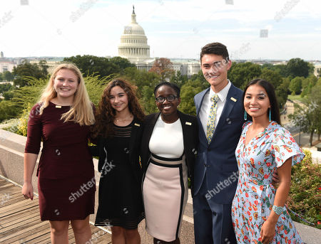 Ben Lee, Annie Castillo, Kinsale Hueston, Juliet Lubwama, Camila Sanmiguel The newly-appointed 2017 Class of National Student Poets Annie Castillo, Camila Sanmiguel, Juliet Lubwama, Ben Lee, and Kinsale Hueston are honored during a ceremony at the Library of Congress, in Washington