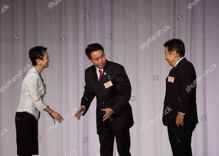Stock Photo of Seiji Maehara, Renho Murata and Yukio Edano