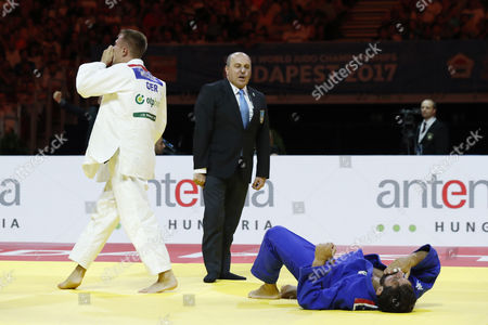 (L-R) Alexander Wieczerzak (GER), Matteo Marconcini (ITA) - Judo : Alexander Wieczerzak celebrates after wining during the 81kg final match