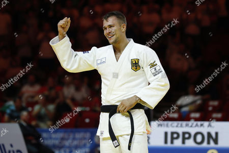 Alexander Wieczerzak (GER) - Judo :Alexander Wieczerzak cerebrates after wining during the 81kg final match