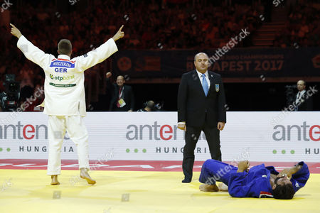 (L-R) Alexander Wieczerzak (GER), Matteo Marconcini (ITA) - Judo :Alexander Wieczerzak cerebrates after wining during the 81kg final match