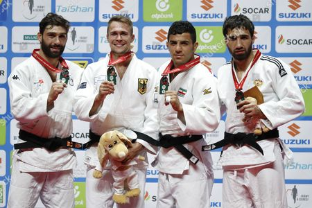 (L-R) Matteo Marconcini (ITA), Alexander Wieczerzak (GER), Saeid Mollaei (IRI), Khasan Khalmurzaev(RUS) - Judo : Medalist pose with their medal during the 81kg medal ceremony