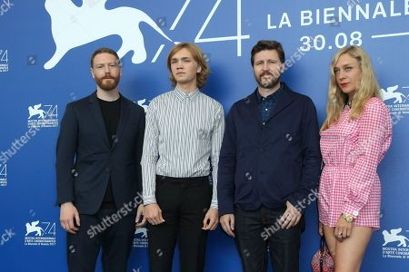 """Tristan Goligher, Charlie Plummer, Andrew Haigh, Cloe Sevigny From left, producer Tristan Goligher, actor Charlie Plummer, director Andrew Haigh, and actress Cloe Sevigny pose during a photo coll for the movie """"Lean On Pete"""" at the 74th Venice Film Festival at the Venice Lido, Italy"""