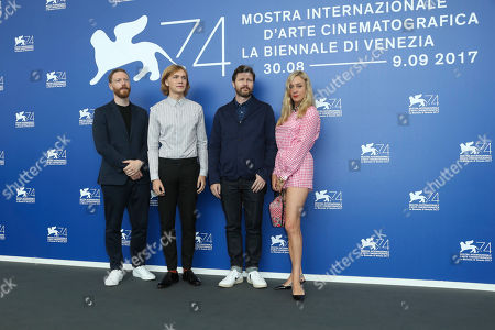 """Tristan Goligher, Charlie Plummer, Andrew Haigh, Chloe Sevigny From left, producer Tristan Goligher, actor Charlie Plummer, director Andrew Haigh, and actress Chloe Sevigny pose during a photo coll for the movie """"Lean On Pete"""" at the 74th Venice Film Festival at the Venice Lido, Italy"""