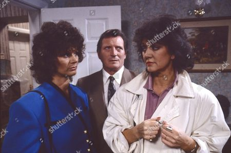 Stock Picture of Shirin Taylor (as Jackie Ingram), Johnny Briggs (as Mike Baldwin) and Amanda Barrie (as Alma Sedgewick)