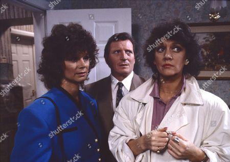 Shirin Taylor (as Jackie Ingram), Johnny Briggs (as Mike Baldwin) and Amanda Barrie (as Alma Sedgewick)