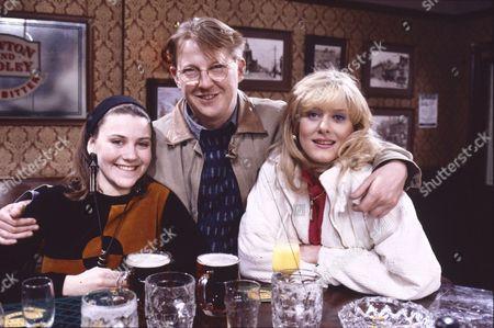 Deborah McAndrew (as Angie Freeman), Kevin Kennedy (as Curly Watts) and Sarah Lancashire (as Raquel Wolstenhulme)