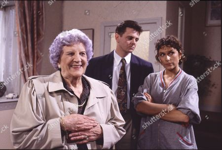 Jill Summers (as Phyllis Pearce), Philip Middlemiss (as Des Barnes) and Amelia Bullmore (as Steph Barnes)