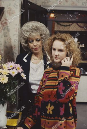 Julie Goodyear (as Bet Gilroy) and Chloe Newsome (as Vicky Arden)