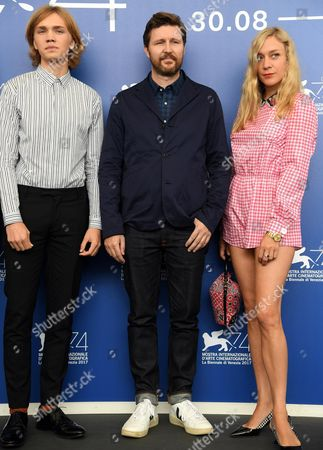 British film director Andrew Haigh (C), US actors Chloe Sevigny (R) and Charlie Plummer (L) pose during a photocall for 'Lean on Pete' during the 74th Venice Film Festival in Venice, Italy, 01 September 2017. The movie is presented in the official competition 'Venezia 74' at the festival running from 30 August to 09 September 2017.