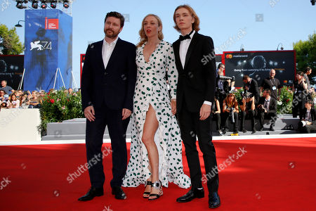 """From left, Director Andrew Haigh, and actors Cloe Sevigny and Charlie Plummer arrive on the red carpet for the movie """"Lean On Pete"""" at the 74th Venice Film Festival at the Venice Lido, Italy"""