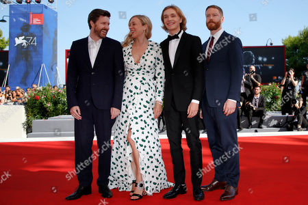 """From left, Director Andrew Haigh, and actors Cloe Sevigny and Charlie Plummer and producer Tristan Goligher arrive on the red carpet for the movie """"Lean On Pete"""" at the 74th Venice Film Festival at the Venice Lido, Italy"""