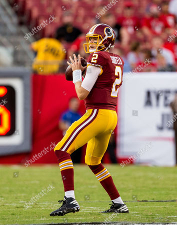 Washington Redskins quarterback Nate Sudfeld (2) looks for an open receiver in the 1st half during the game between the Washington Redskins and the Tampa Bay Buccaneers at Raymond James Stadium in Tampa, Florida