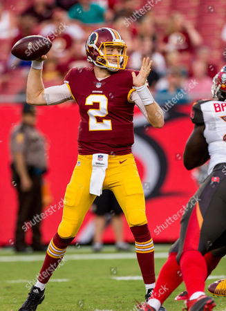 Washington Redskins quarterback Nate Sudfeld (2) throws a pass in the 1st half during the game between the Washington Redskins and the Tampa Bay Buccaneers at Raymond James Stadium in Tampa, Florida