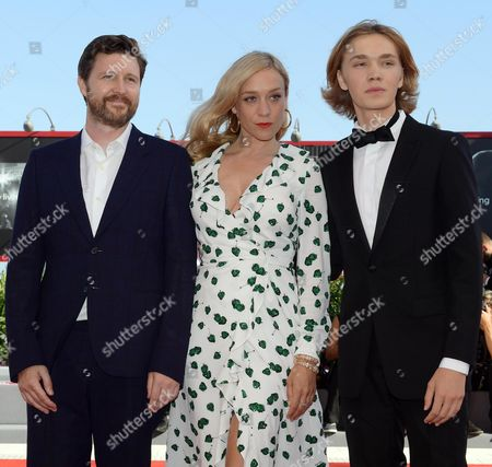 British film director Andrew Haigh (L), US actors Chloe Sevigny (C) and Charlie Plummer (R) arrive for the premiere of 'Lean on Pete' during the 74th Venice Film Festival in Venice, Italy, 01 September 2017. The movie is presented in the official competition 'Venezia 74' at the festival running from 30 August to 09 September 2017.