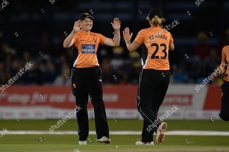 Arran Brindle and Charlotte Edwards of Southern Vipers celebrate the wicket of Fran Wilson of Western Storm during the Women's Cricket Super League final match between Southern Vipers and Western Storm at the 1st Central County Ground, Hove
