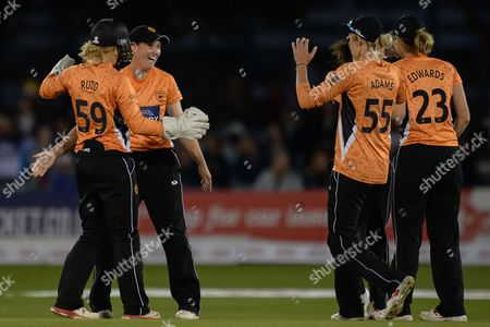 Southern Vipers celebrate the wicket of Fran Wilson of Western Storm who was bowled by Arran Brindle of Southern Vipers during the Women's Cricket Super League final match between Southern Vipers and Western Storm at the 1st Central County Ground, Hove