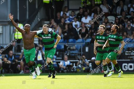 DJ Spoony of Team Ferdinand celebrates scoring