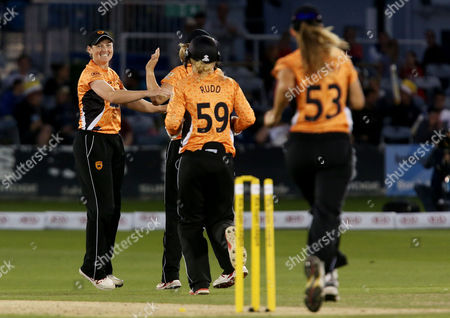 Arran Brindle of the Southern Vipers celebrates bowling out Fran Wilson of the Western Storm.