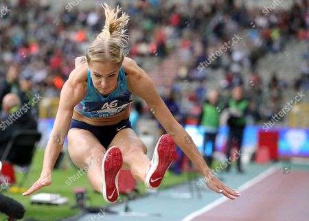 Russia's Darya Klishina competes during the women's long jump at the Diamond League Memorial Van Damme athletics event at the King Baudouin stadium in Brussels on