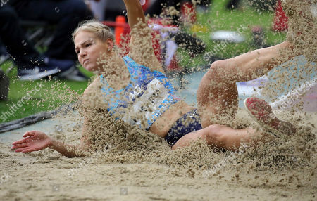 Stock Image of Russia's Darya Klishina competes during the women's long jump at the Diamond League Memorial Van Damme athletics event at the King Baudouin stadium in Brussels on