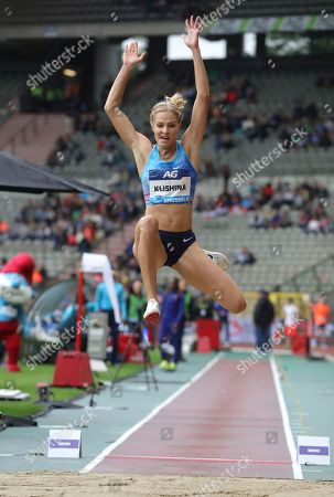 Stock Photo of Russia's Darya Klishina competes during the women's long jump at the Diamond League Memorial Van Damme athletics event at the King Baudouin stadium in Brussels on