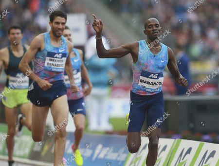 Elijah Motonei Maangoi (R) of Kenya wins the men's 1500 meters at the Memorial Van Damme IAAF Diamond League international athletics meeting in Brussels, Belgium, 01 September 2017.