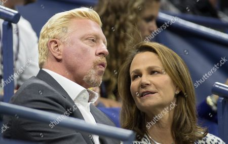 Stock Picture of Boris Becker  watching Mischa Zverev from Germany in his match against John Isner with Pam Shriver