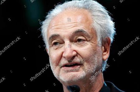 Fondation Positive Planet president Jacques Attali delivers a speech at The Global Positive Forum in Paris France, . The Global Positive Forum aims to give voice to agents of change around the world, people who are thinking and acting in new ways, and leading positive initiatives
