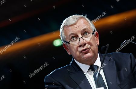 Stock Image of Head of Richard Attias and Associates, Richard Attias delivers a speech at The Global Positive Forum in Paris France, . The Global Positive Forum aims to give voice to agents of change around the world, people who are thinking and acting in new ways, and leading positive initiatives