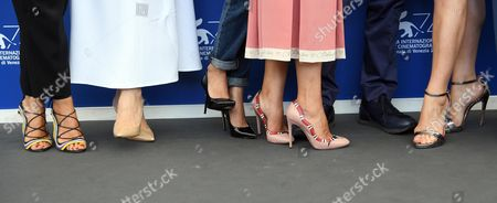 (L-R) Shoes of Anna Foglietta, Anita Caprioli, Silvia D'Amico, Isabella Ferrari, Francesco Patierno, Barbora Bobulova, Carlotta Natoli and Michele Riondino during the 74th Venice Film Festival in Venice, Italy, 02 September 2017. The movie is presented in out competition at the festival running from 30 August to 09 September 2017.