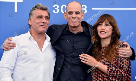 Israeli actor Lior Ashkenazi (L), Israeli movie director Samuel Maoz (C) and French and Israeli actress Sarah Adler pose during a photocall for 'Foxtrot' at the 74th annual Venice International Film Festival, in Venice, Italy, 02 September 2017. The movie is presented in the official competition 'Venezia 74' at the festival running from 30 August to 09 September.