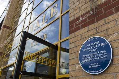 Stock Picture of Blue-plaque for musician Lemmy outside the main stand at Vale Park during the EFL Sky Bet League 2 match between Port Vale and Notts County at Vale Park, Burslem