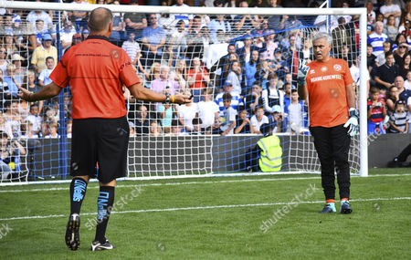 Stock Image of Jose Mourinho of Team Shearer complains to referee Mark Halsey during the penalty shoot out