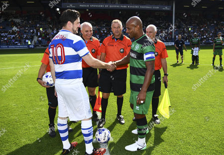 Stock Image of Captains Trevor Sinclair of Team Shearer and Marcus Mumford of Team Ferdinand